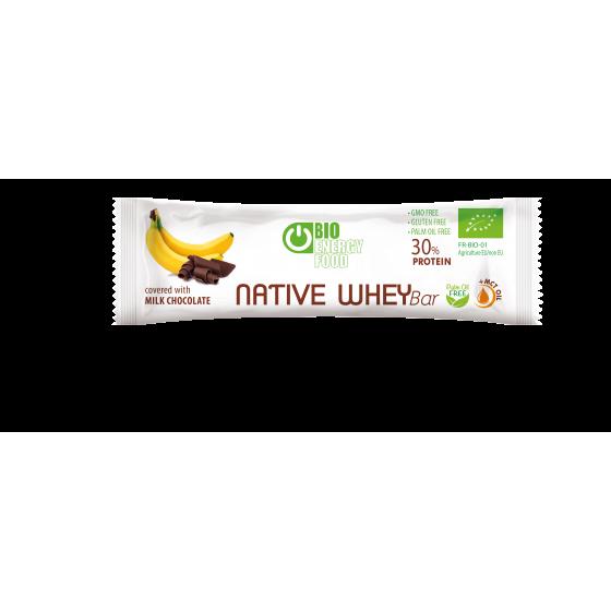 Organic banana and chocolate protein bar with native whey (30g)
