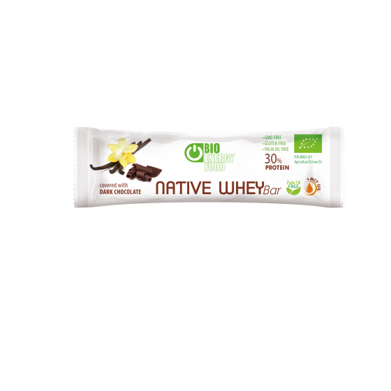 Organic vanilla and chocolate protein bar with native whey (30g)